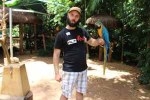 Lindsay and his bird at the bird park
